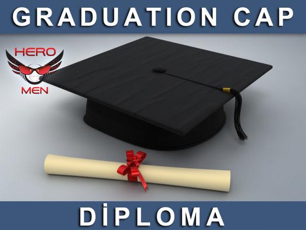 Graduation Cap & Diploma 3D Models