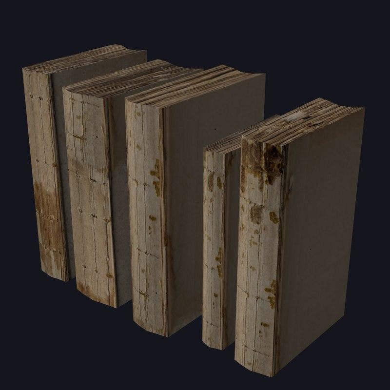 Old Books, Damaged 3d Model