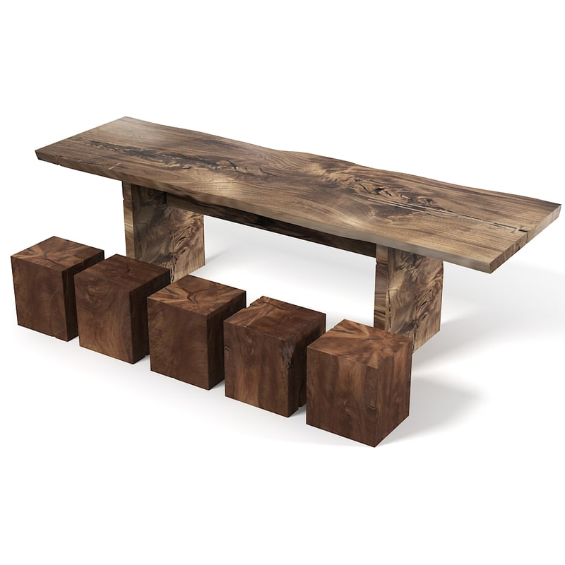 Hudson Furniture Rustic Teak Wood Aged Natural Dining Table Cube Chair . Full resolution  image, nominally Width 1024 Height 1024 pixels, image with #896042.
