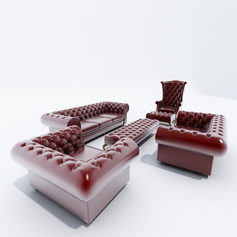 chesterfield sofa set 3d obj