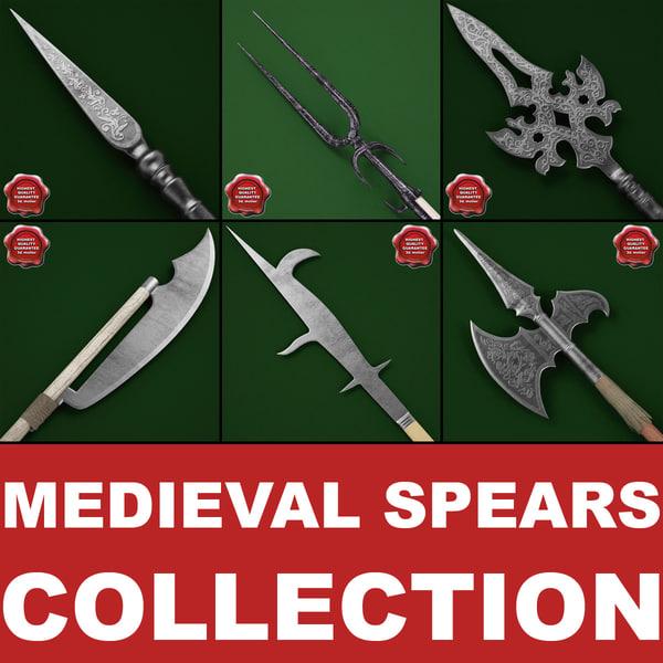 Medieval Spears Collection V2 3D Models