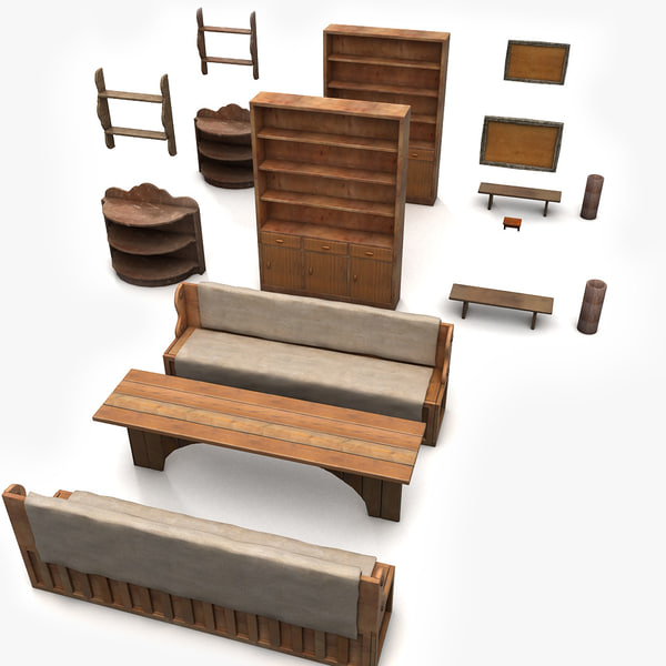 Simplier Old Furniture Collection 3D Models