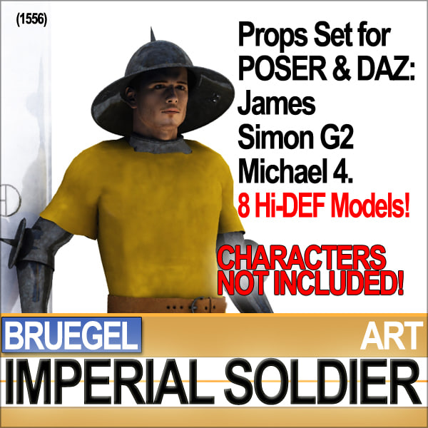 Props Set Poser Daz for Bruegel Imperial Soldier