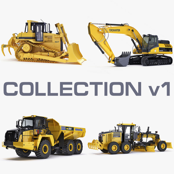 Collection heavy vehicle v1 construction equipment industrial transport engineering machine power big x-machine 3D Models
