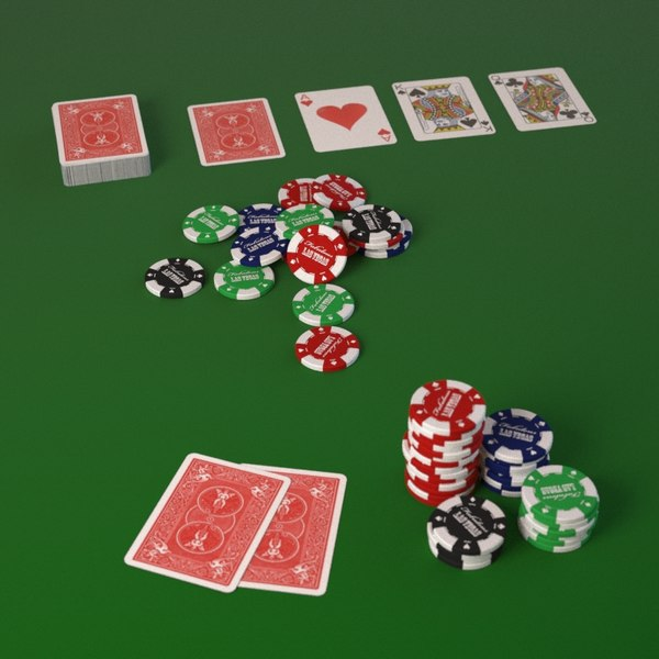 Poker cards with fiches 3D Models