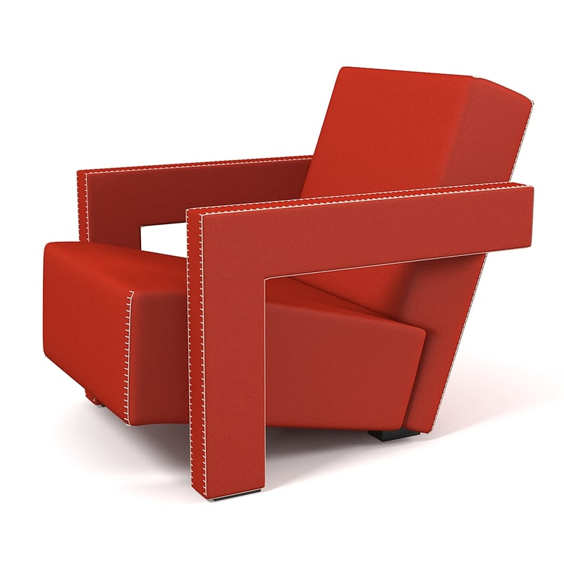 3d cassina utrecht armchair for Famous modern chairs