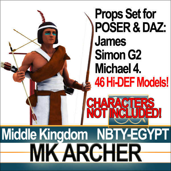 Props Set Poser Daz for Ancient Egypt MK Archer