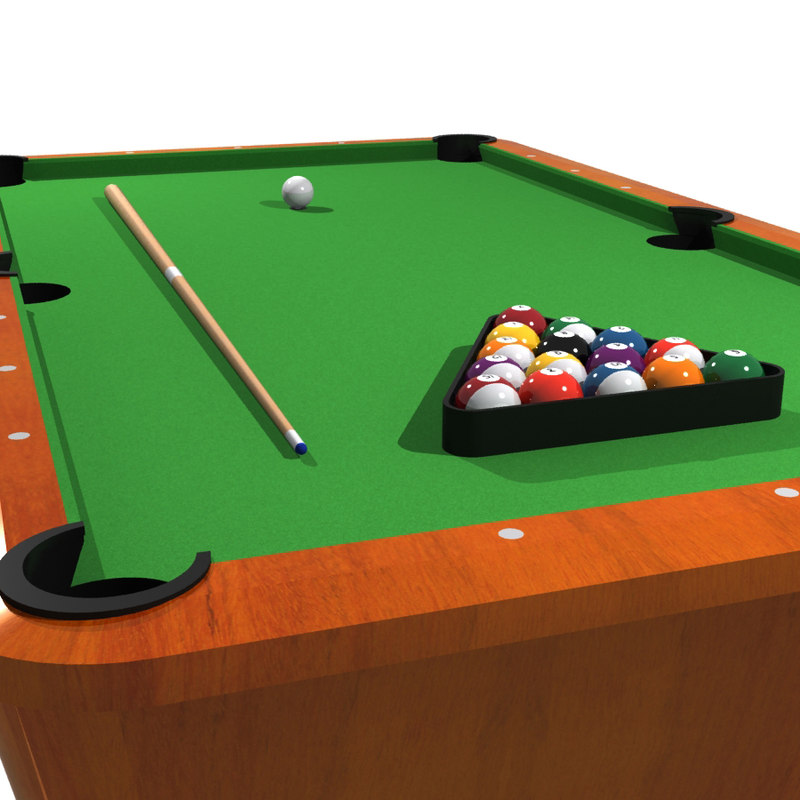 Pool billiards 3d model - Pool table green felt ...