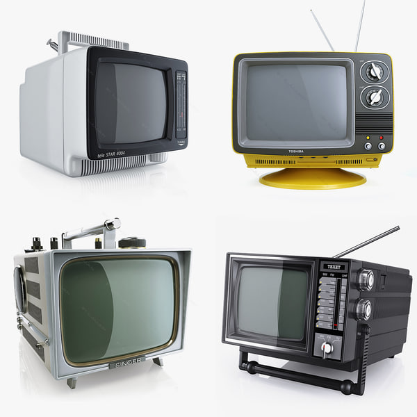 Collection retro portable TV 1980s 1970s 3D Models