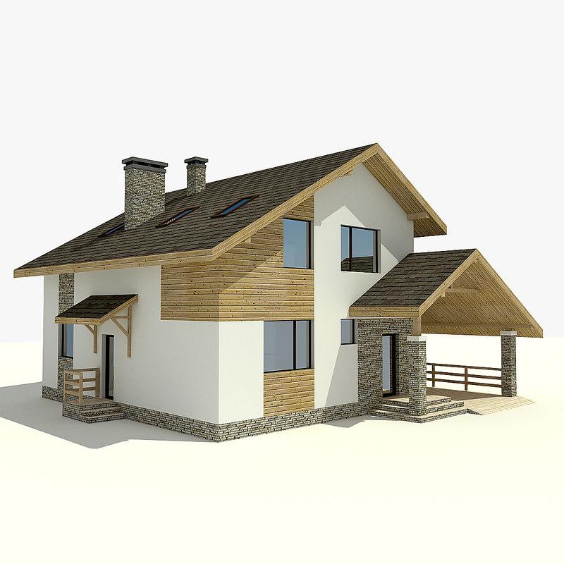 3d Model House Building Residential: 3d Model House Village Mountains