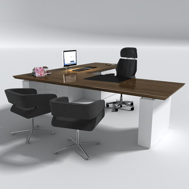 Manager office desk table set 3d model for Table 2 personnes