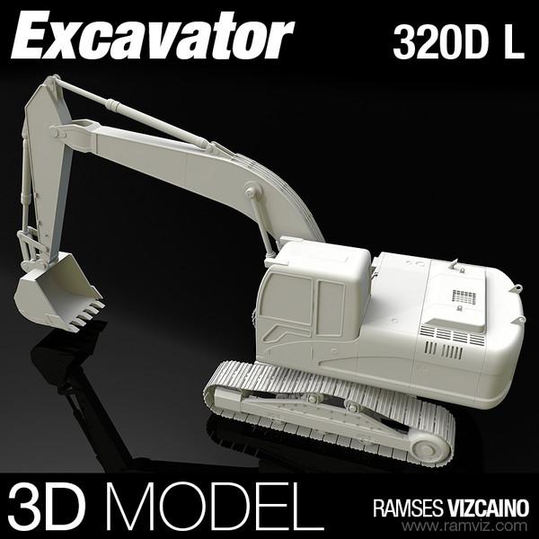 320D L Excavator 3D Models