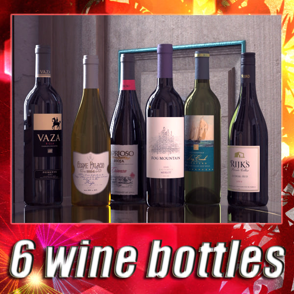 6 Wine Bottles Collection 3D Models