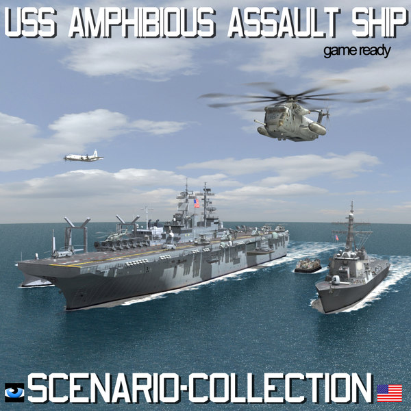 USS Navy Amphibious Assault Ship Scenario and Collection 3D Models