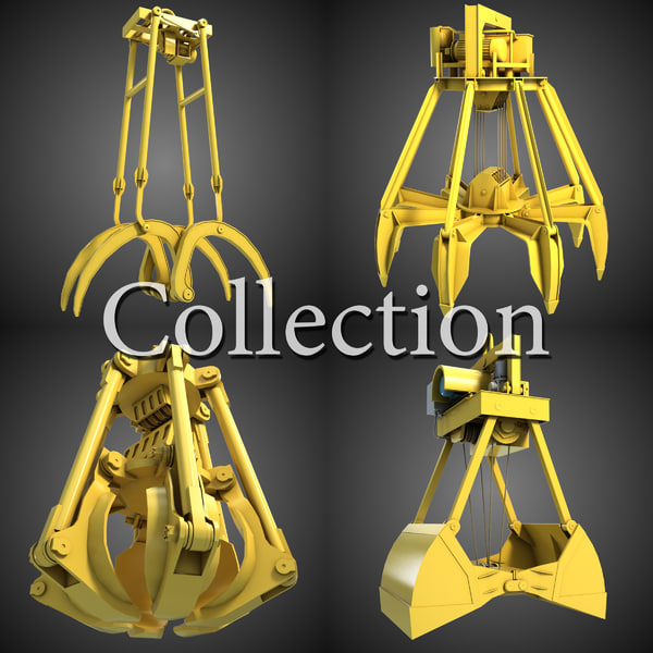 Excavator Grab Collection 1 3D Models