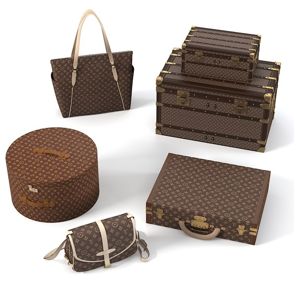 Louis Vuitton Bags Set 3D Models