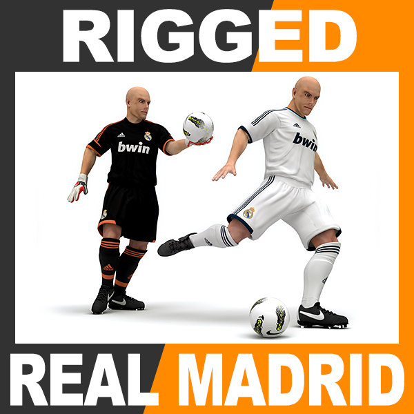 Rigged Football Player and Goalkeeper - Real Madrid CF 3D Models
