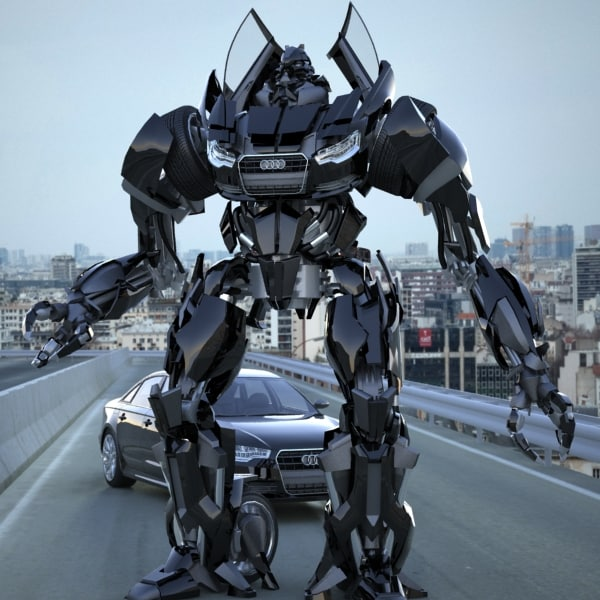 Audi A6 2012 Transformer Black / Autobot - Rigged 3D Models