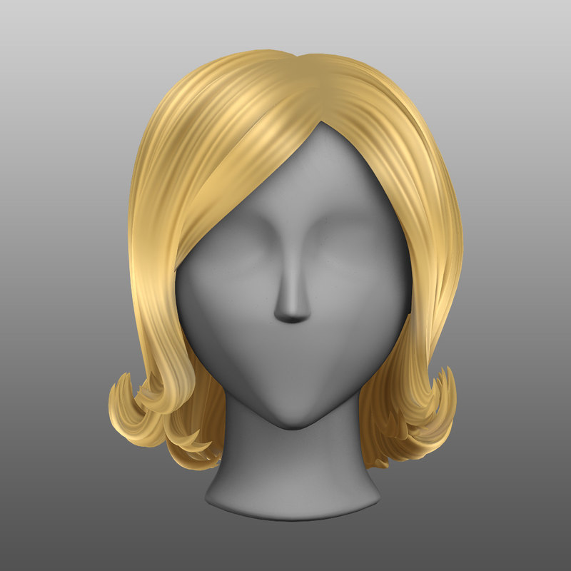 Stylized Blonde Up-curled Hair Mesh