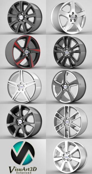 Volvo S60 rims collection 3D Models