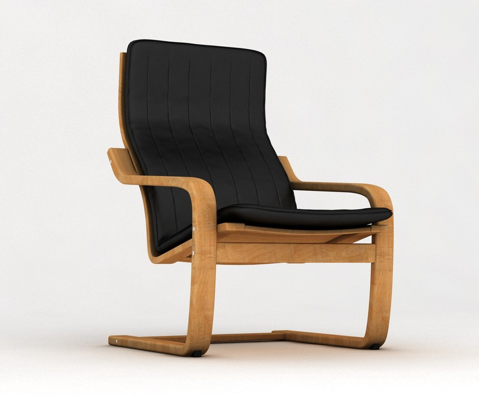 Ikea poang armchair 3d model - Ikea poang chair leather ...