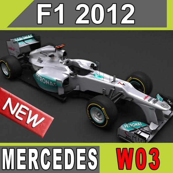 2012 Mercedes AMG W03 3D Models
