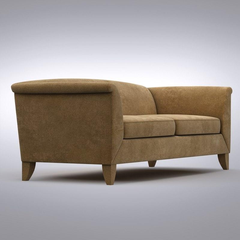 3d model crate barrel   leather sofa