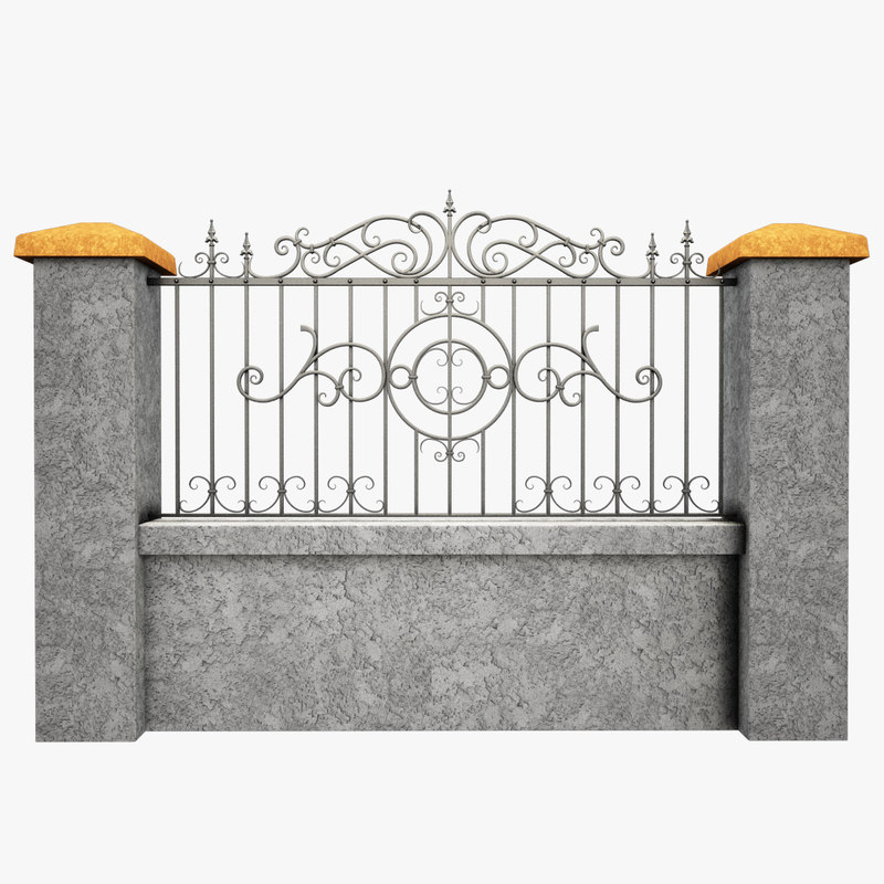 3d model Forged Iron Fence 5-thumb.jpg