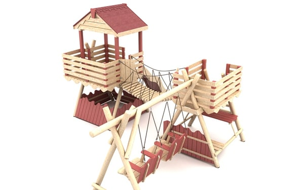 Wooden Playground Equipment 3 3D Models