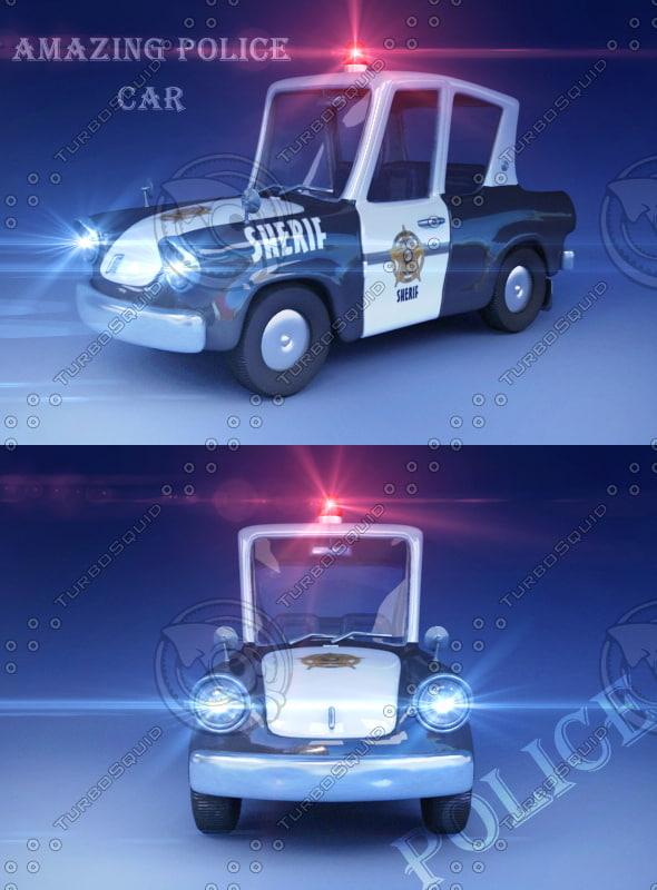 3d Police Toon Car