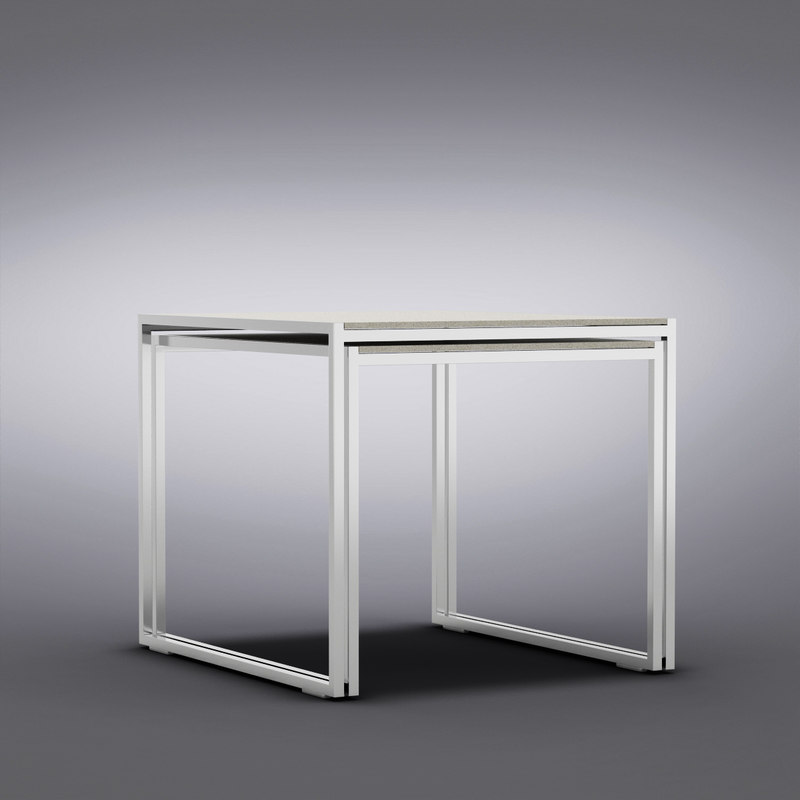 Crate and Barrel - Set of 2 Dune Nesting Tables with Pebbled Glass