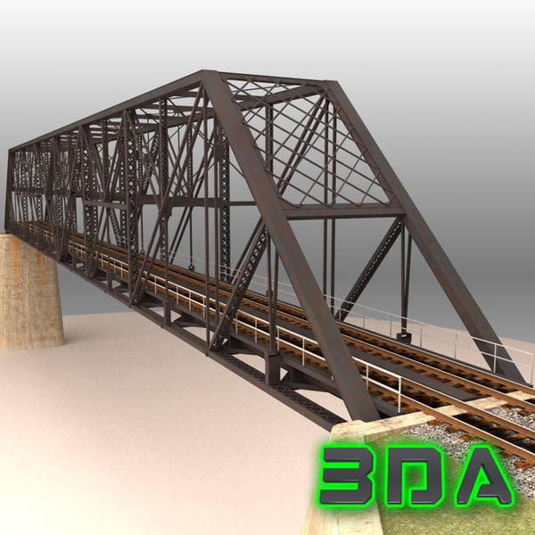 Rail bridge two track truss 3D Models
