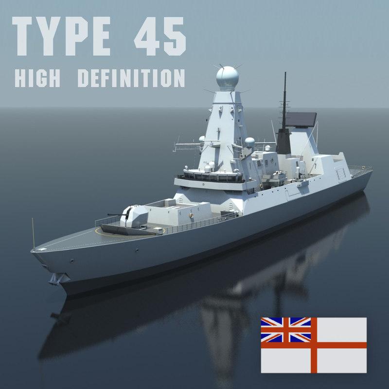 type 45 destroyer 3d model
