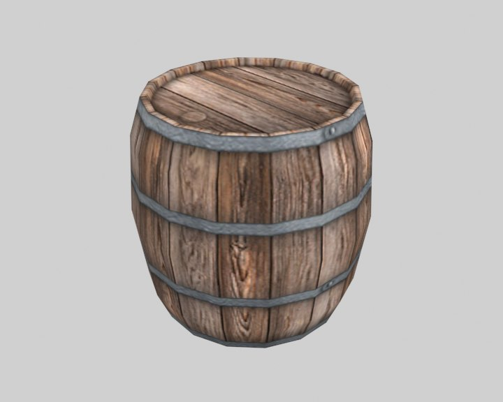 Wooden Barrel ( low cost game ready model )