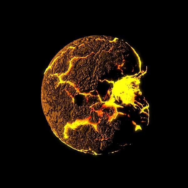 Cracked planetoid Texture Maps