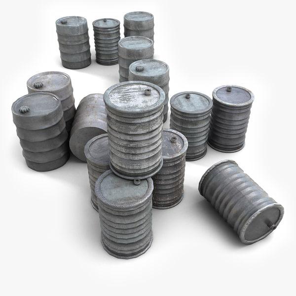 Metal Barrels Collection 3D Models