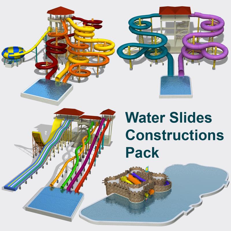 Model Water Park Water Slides Set 3d Model