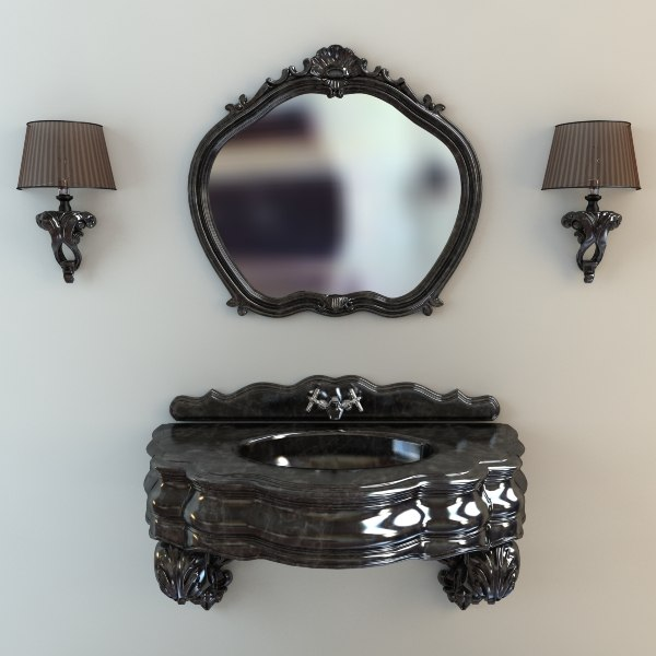 Washbasin, mirror & sconces 3D Models