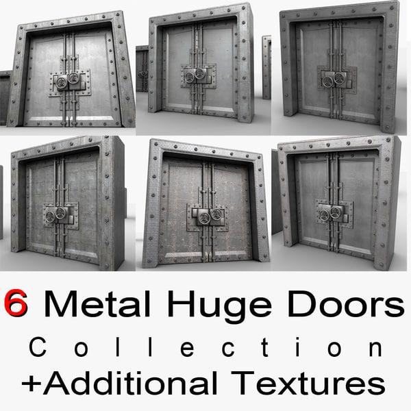 Metal Huge Door Textured Collection 3D Models