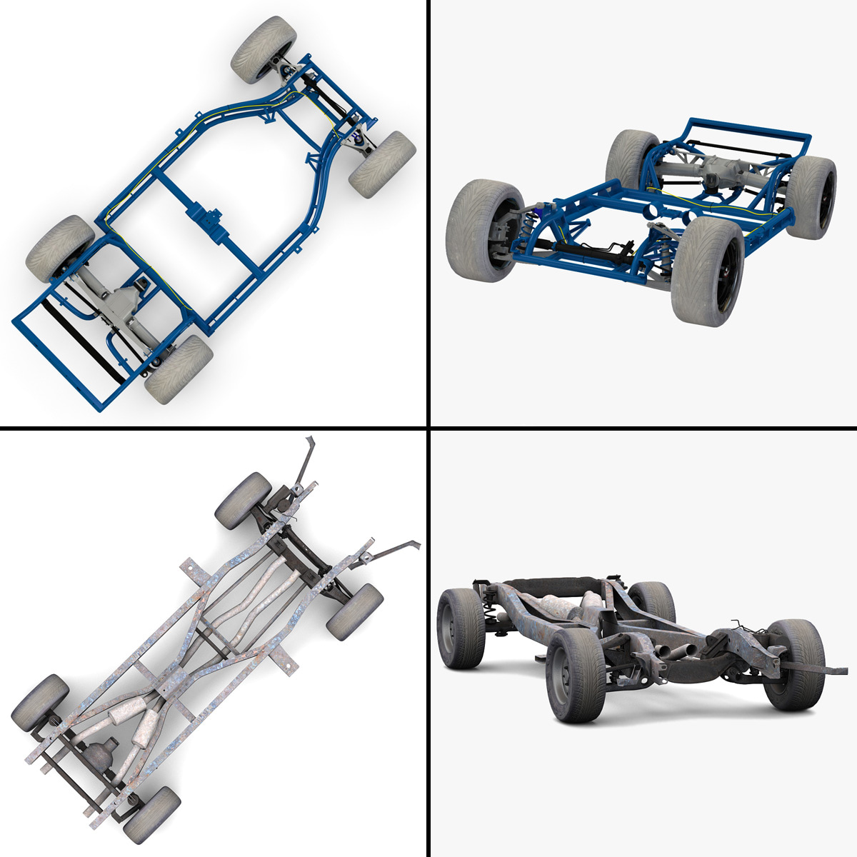 Searched 3d models for Car Frame with Chassis Engine 01