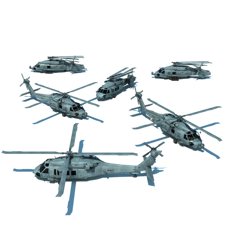 mh 60r helicopters aircraft carrier 3d model