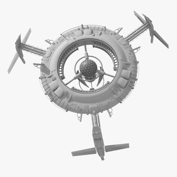 Large SciFi Space Station 3D Models