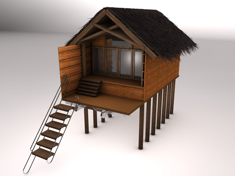 3d beach hut for Model beach huts