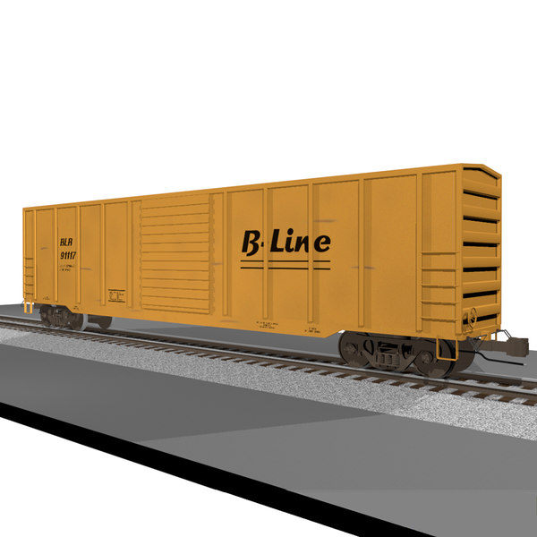 Train Car: Boxcar / Cargo: C4D Format 3D Models