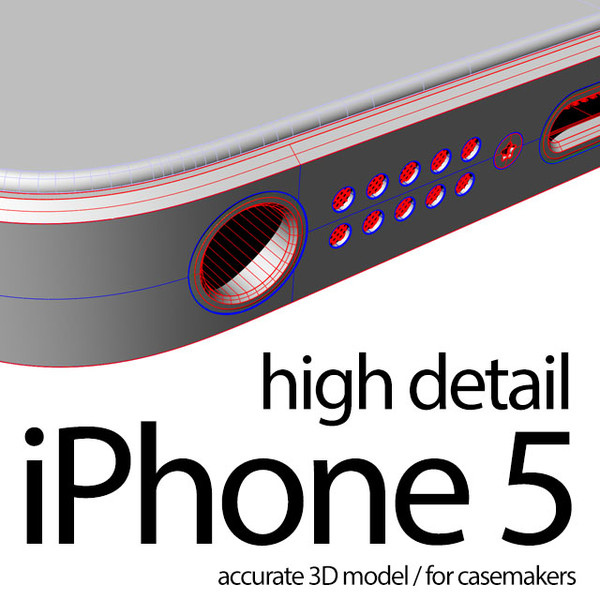 iPhone 5 (for casemakers - high accuracy) 3D Models