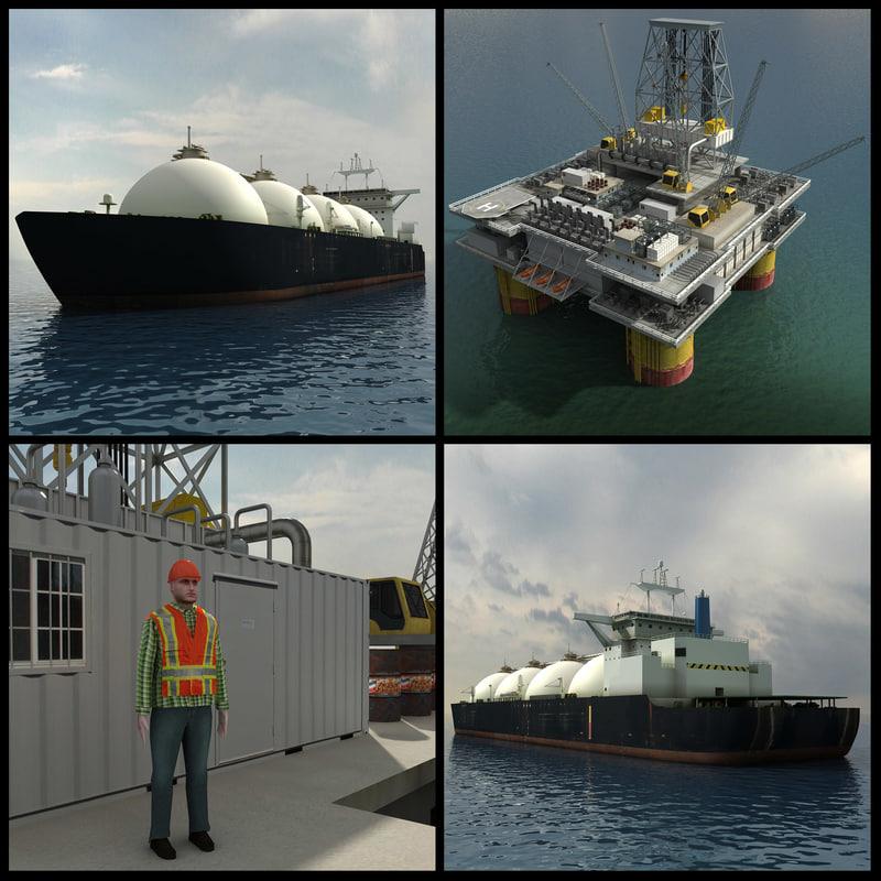 Oil Platform And Tanker Ship