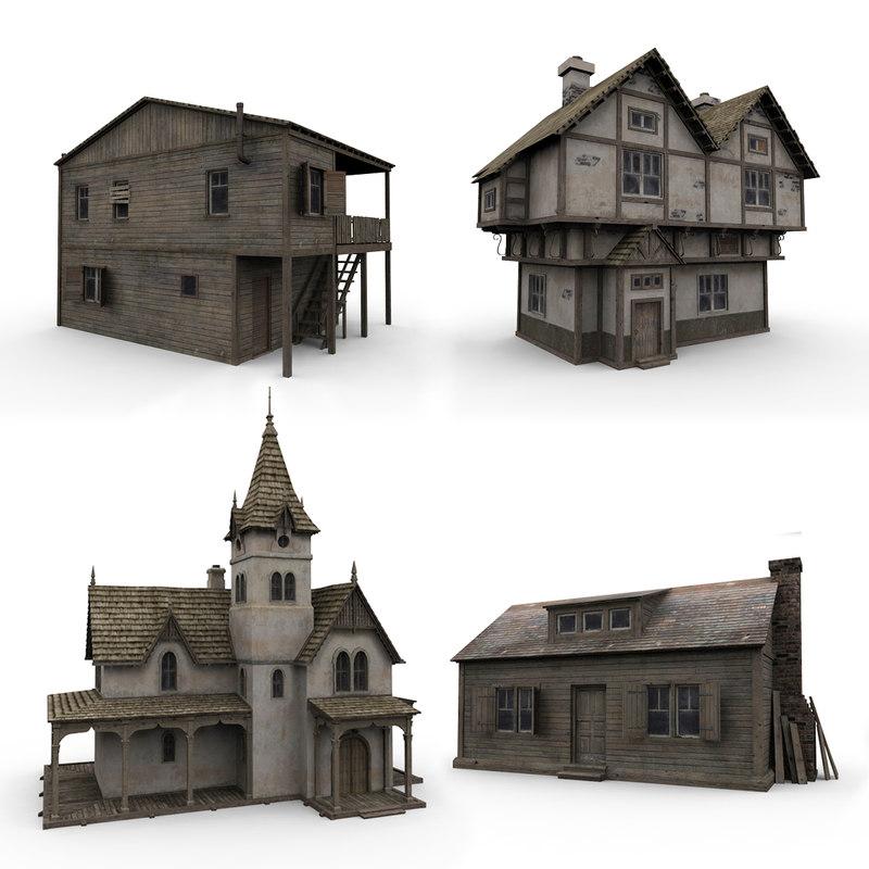 3d old house model House 3d model