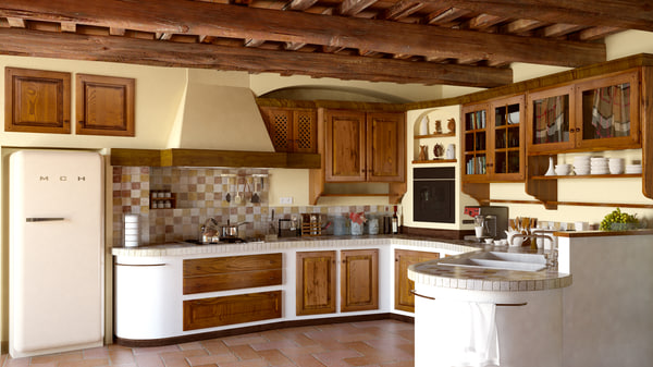 Country Kitchen (traditional tuscan italian style kitchen) interior 3D Models