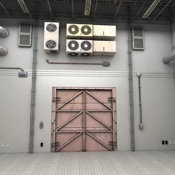 Clean Big White Industrial Manufacturing Factory Room Scene Hall 3D Models