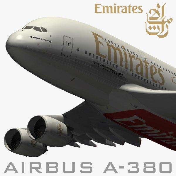 Airbus A380 Emirates Airways 3D Models
